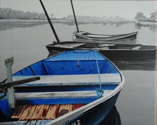 Barques sous la brume